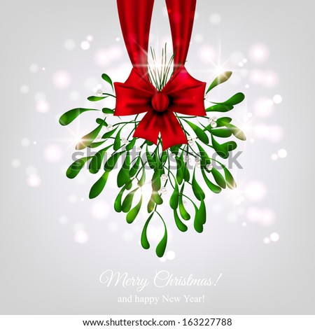 Hanging Mistletoe with red bow - stock vector
