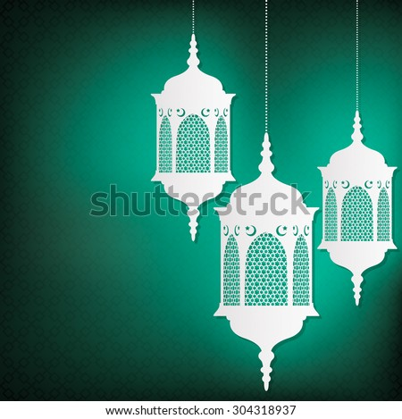 Hanging Moroccan lantern card in vector format.