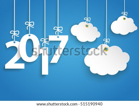 Hanging numbers 2017 and cloud stickers on the blue striped background. Eps 10 vector file.