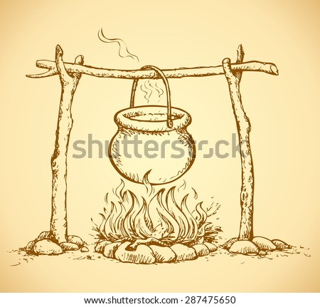 Hanging on log cast iron pan on hot embers fading campsite stew boiling potatoes. Vector freehand ink drawn backdrop sketch in art rustic doodle style pen on paper. View close-up with space for text - stock vector