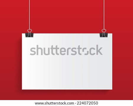 hanging on red background - stock vector