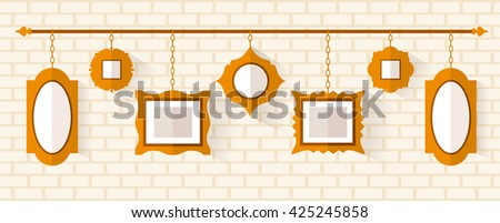 Wall Hanging Photo Frames Designs wall hanging photo frames designs 50 decor decorating in wall hanging photo frames designs Hanging On The Chain Frame Vector Illustration In Flat Style A Set Of Frames