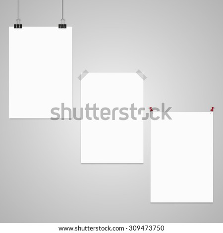 hanging paper sign. sticker, pin - stock vector