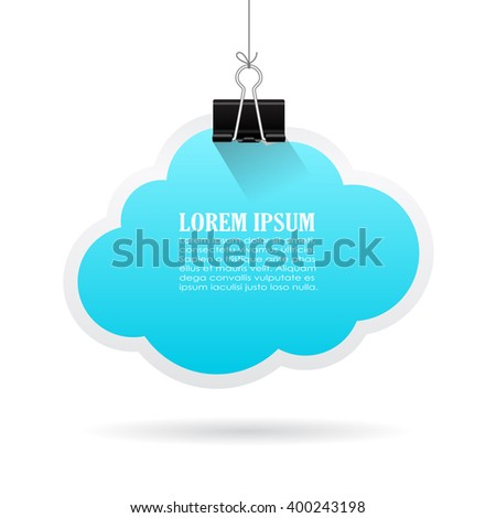Hanging paper text blue cloud, vector illustration isolated on white background - stock vector