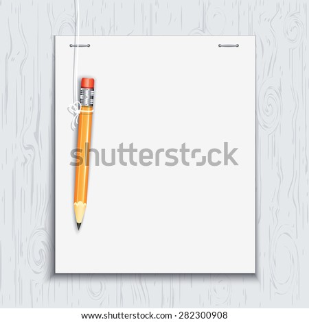 Hanging pencil by the paper sheet on the wooden board. - stock vector