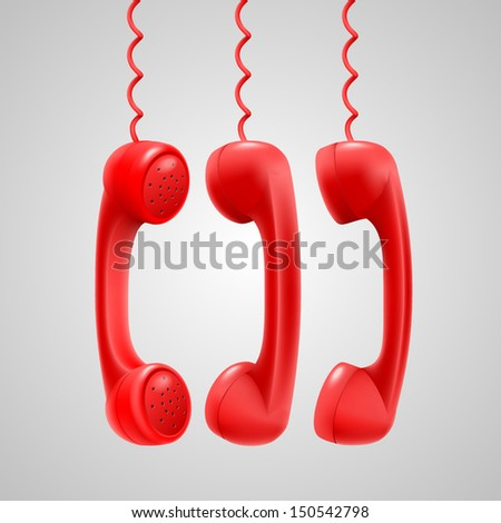 Hanging red handsets - stock vector