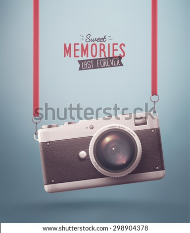 Hanging retro camera, sweet memories, eps 10 - stock vector