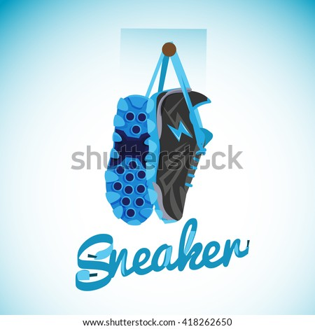 Hanging Sneakers with typographic design - vector illustration - stock vector