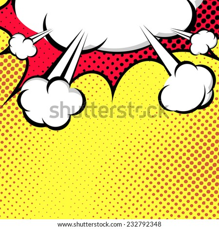 Hanging Speech Bubble Cloud Pop-Art Style - comic book style. Vector illustration - stock vector