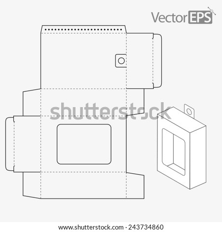 Hanging tab box with window - stock vector