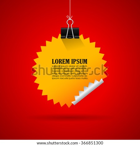 Hanging vector star sticker illustration isolated on red background - stock vector