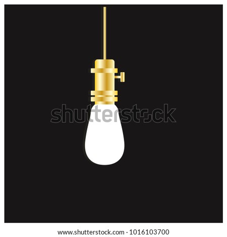 Hanging White Bulb Vector