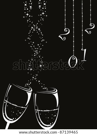 hanging 2012 with champagne glass on black background - stock vector