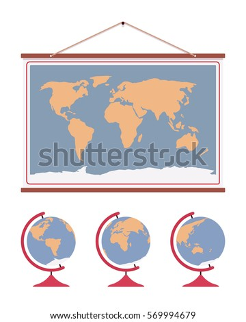 Hanging world map decoration accent office vectores en stock hanging world map decoration to accent office or home walls poster for educational purpose gumiabroncs Gallery