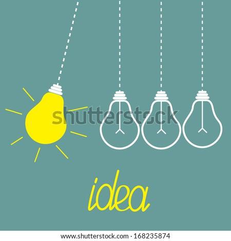 Hanging yellow light bulbs. Perpetual motion.  Idea concept. Vector illustration. - stock vector