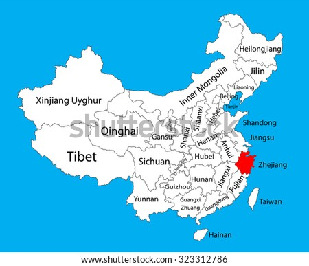 Hangzhou Province Map China Vector Map Stock Photo Photo Vector