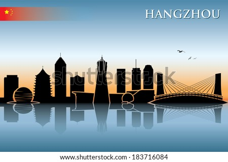 Hangzhou skyline - vector illustration