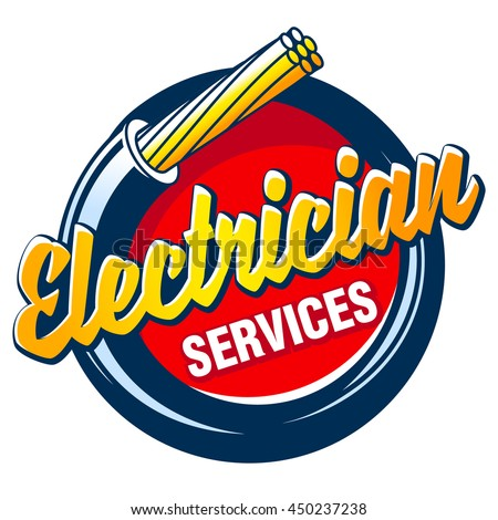 Hank electric cable and the inscription - ELECTRICIAN SERVICES. Vector logo and sign.