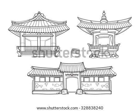 Hanok Korean traditional architecture vector outline set. Palace house, architecture asia village culture, asian home illustration - stock vector