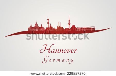 Hanover skyline in red and gray background in editable vector file - stock vector