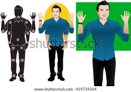 Hanson young man cartoon character in formal blue shirt, animation ready vector doll with separate joints. Gestures. Articulation points demonstration. - stock vector