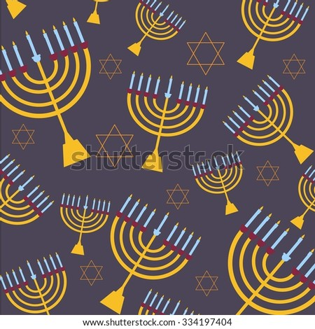 Hanukkah background vector illustration with candles