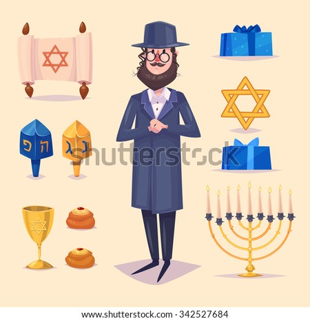 Hanukkah celebration. Great world wide jewish holiday.  Set of colorful elements. Stock flat vector illustration set. - stock vector