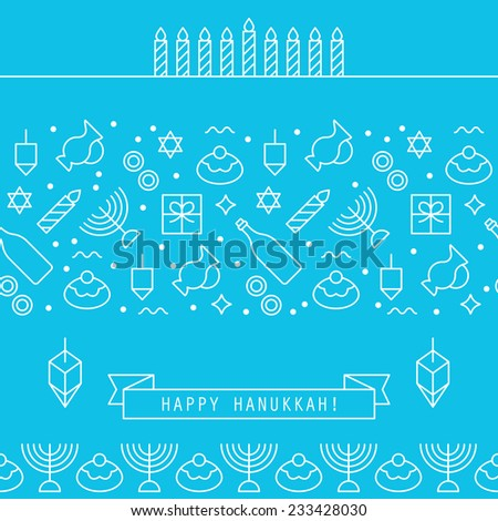 Hanukkah holiday design elements with flat line icons - stock vector