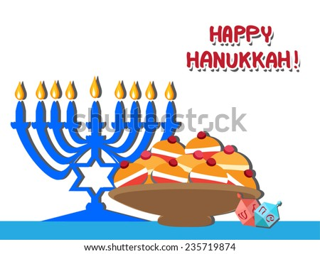 Hanukkah symbols and foods. Menorah, Dreidels,Sufganiyot flat illustration. Candlestick with David star and nine candle, jelly donuts on plate .  Vector greeting card. Happy Hannukah text. Eps 10. - stock vector