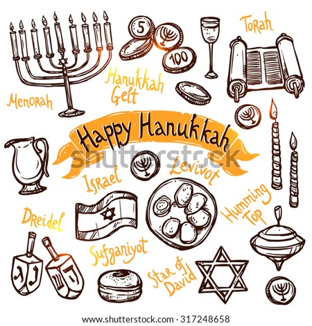 Hanukkah traditional jewish holiday doodle symbols set isolated vector illustration - stock vector