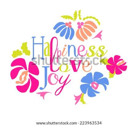 Happiness love & joy - stock vector