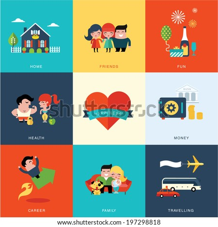 Happiness set - stock vector