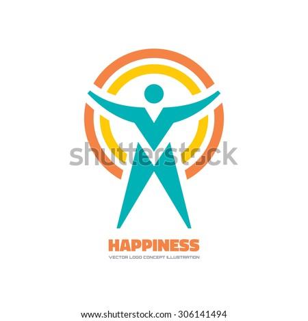 Happiness - vector logo concept illustration. Human character logo. People logo. Man logo. Vector logo template. Design element.  - stock vector