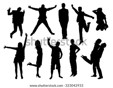 Happy active young people silhouettes. Black and white vector collection.