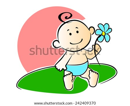 Happy adorable newborn baby playing with a flower outdoors on the grass on a hot summer day, cartoon style - stock vector