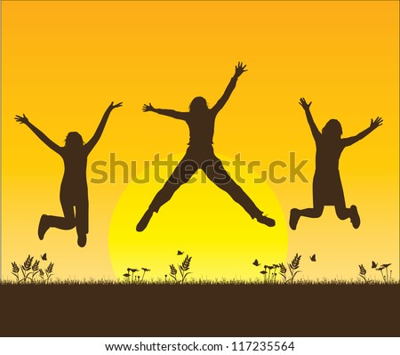 happy adult women jumping silhouette - stock vector