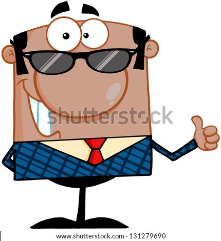 Happy African American Business Manager With Sunglasses Showing Thumbs Up - stock vector