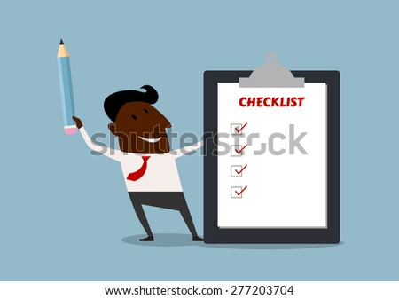 Happy african american businessman completing a checklist ticking al the boxes with his pencil - stock vector