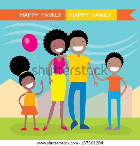 Happy African American family of four members: parents,their son and daughter. Lovely cartoon characters on nature sunny summer day background.Vector illustration - stock vector