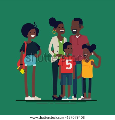 Happy african family. Cheerful african american family characters standing together. African american parents with two preschool boy and girl kids and teenager girl. Vector flat design