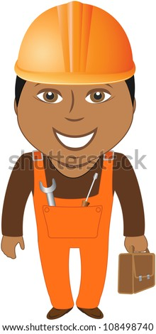 happy afro american worker - home master with tools - stock vector