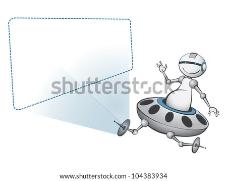 Happy alien robot with special offer - stock vector