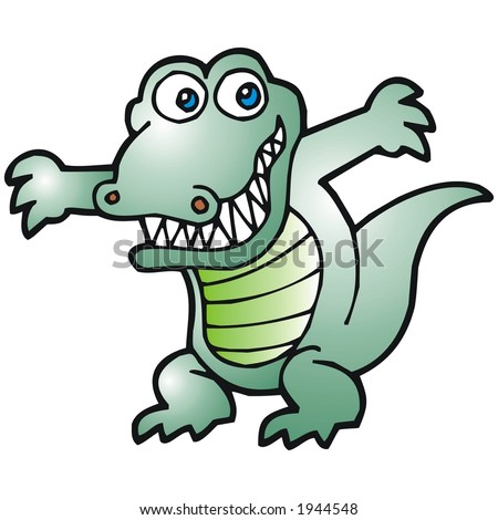 happy alligator - stock vector