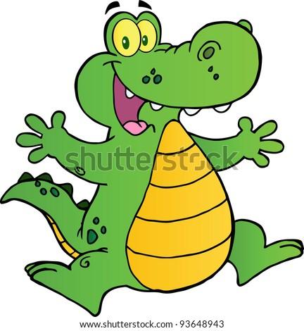 Happy Alligator Jumping - stock vector