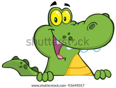 Happy Alligator Or Crocodile Over A Sign - stock vector