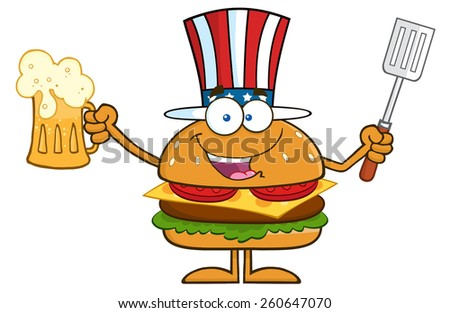 Happy American Hamburger Cartoon Character Holding A Beer And Bbq Slotted Spatula. Vector Illustration Isolated On White - stock vector