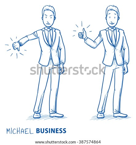 Happy and angry young man in business suit showing thumb up and down. Hand drawn line art cartoon vector illustration. - stock vector