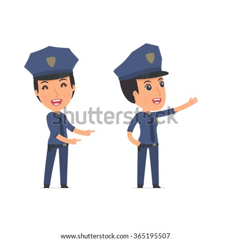 Happy and Cheerful Character Constabulary making presentation using his hand. for use in presentations, etc.