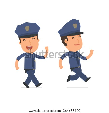 Happy and Cheerful Character Officer goes and runs. for use in presentations, etc.