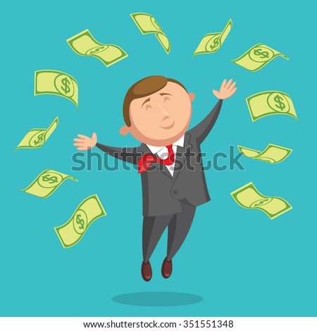 Happy and contented businessman dressed in gray suit and with red tie is jumping among the dollars, arms are outstretched at the sides, on blue background. Success in business and income concept - stock vector